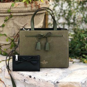 NWT kate spade Sm Hayes Satchel&wallet olive green
